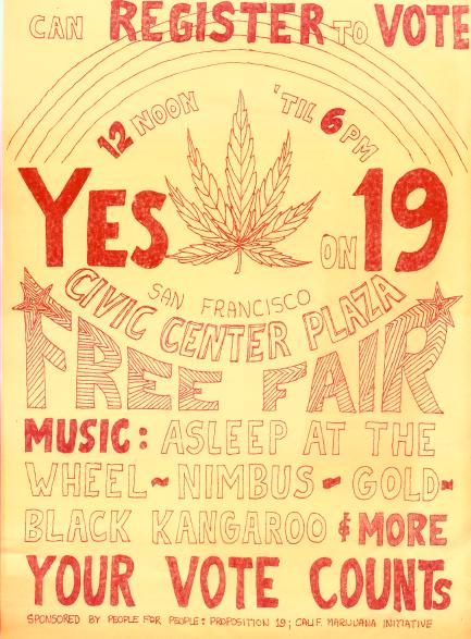 Proposition 19 Poster in California, 1972