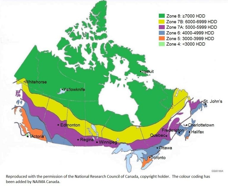 Heating Degree Days Canada Map Climate Zones and Heating Degree Days | Canadian Insulation Codes
